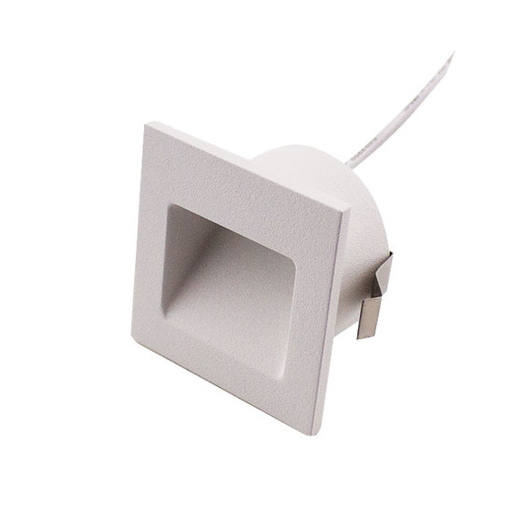 Dimmable 3w Small Square Recessed LED Wall Light in Matt White IP44 3000K