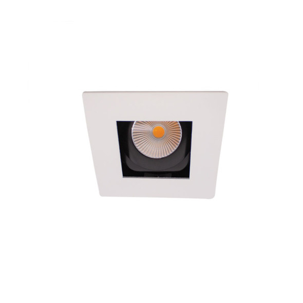 Square Tiltable Baffle 10W Dimmable Recessed LED Downlight 3000K IP44 in Matt White