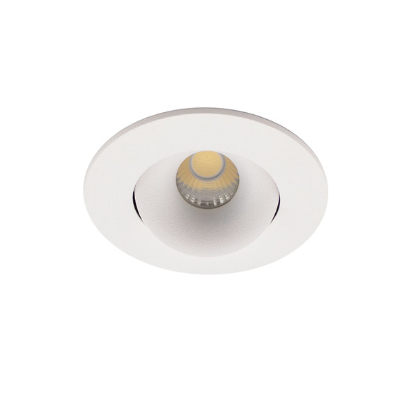 Mini Round Tiltable 6W Dimmable LED Downlight 3000K IP44 & Fire Rated in Matt White