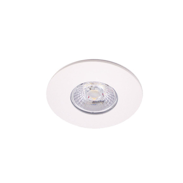 10W Dimmable IP65 & Fire Rated LED Downlight with Flat White Bezel 3000K