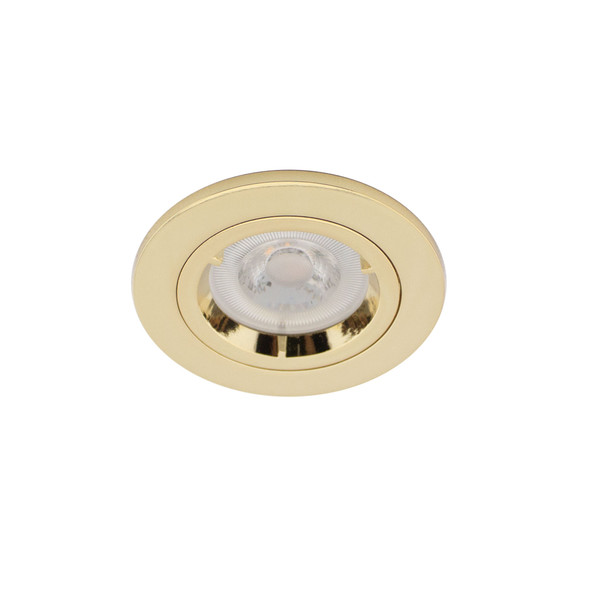 Fixed Fire Rated GU10 Downlight IP20 - up to 50W / 90min in Polished Brass