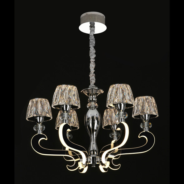 Crystal 6 Lamp LED Chandelier in Chrome Finish