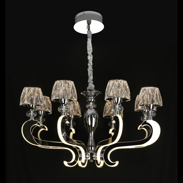 Crystal 8 Lamp LED Chandelier in Chrome Finish