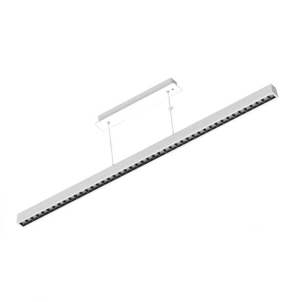 Ultra-Modern Commercial LED Suspended Strip Light Pendant in Matt White