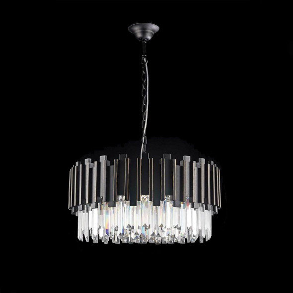 Round Black Paint Crystal Chandelier 10 Lamp 600