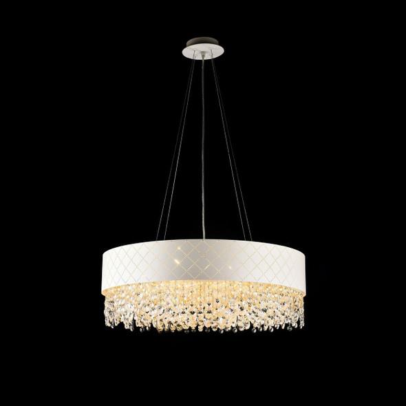 Blanco Round Crystal Pendant Light in Matt White 12 Lamps 600x400