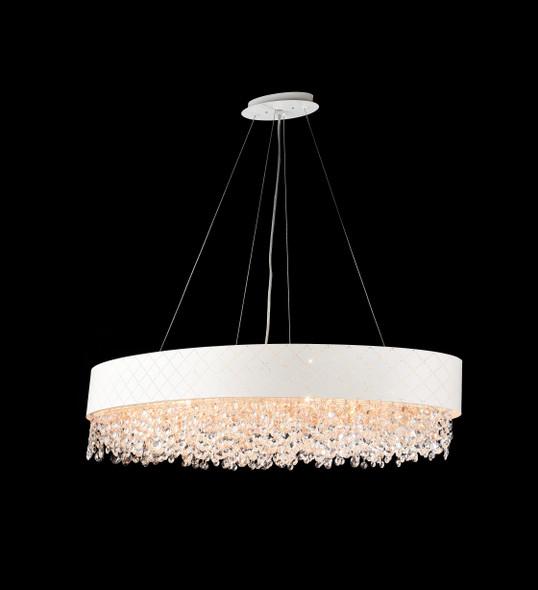 Blanco Oval Crystal Pendant Light in Matt White 10 Lamps 900x400
