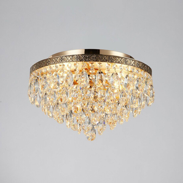 Black Crystal Flush Mount Chandelier in French Gold Finish 4 Lamps 60W