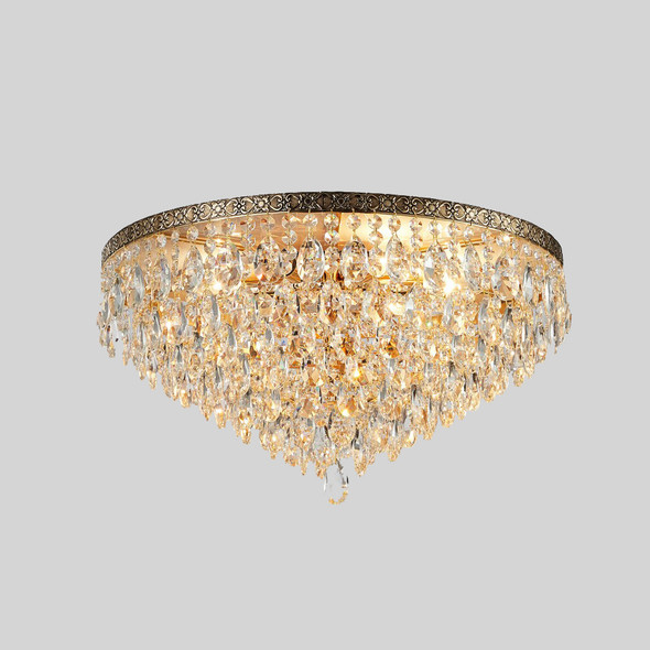 Crystal Flush Mount Chandelier in French Gold Finish 6 Lamps 60W