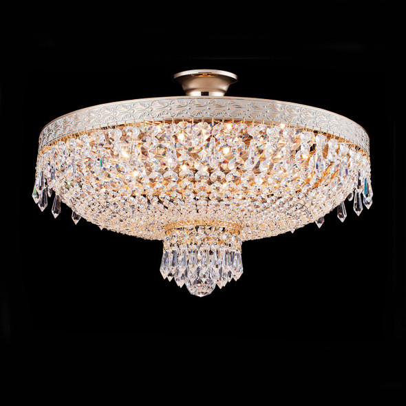 Round Crystal Flush Mounted Chandelier in French Gold Finish 6 Lamps 60W