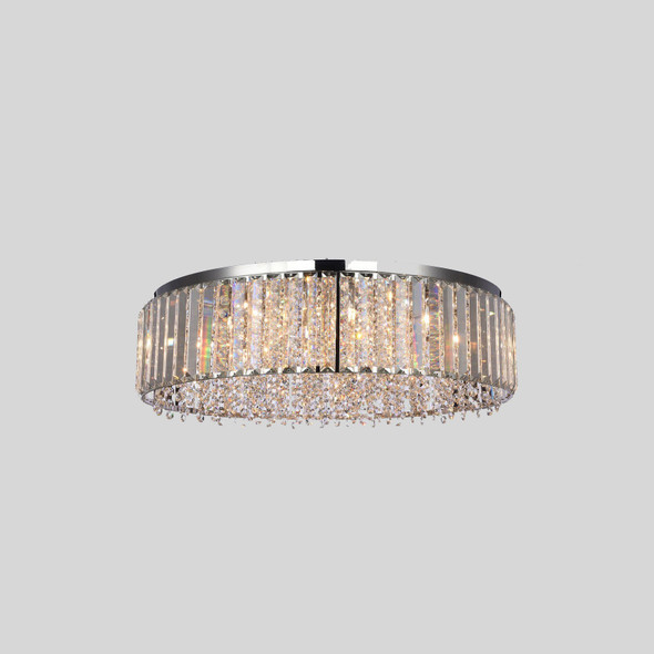 Crystal Chandelier Flush Mount in Chrome Finish 12 Lamps 60W