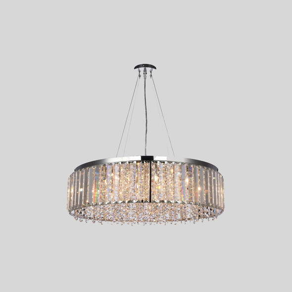 Crystal Chandelier Pendant Mount in Chrome Finish 12 Lamps