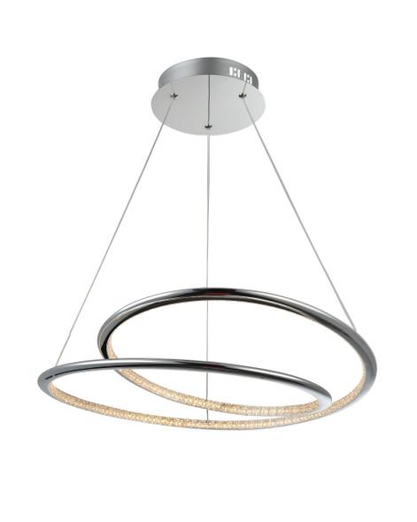 Slim Twisted Pendant LED Light in Polished Chrome Finish