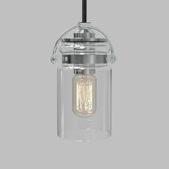 Pendant Lamp with Clear Glass Shade in Chrome Finish 60W