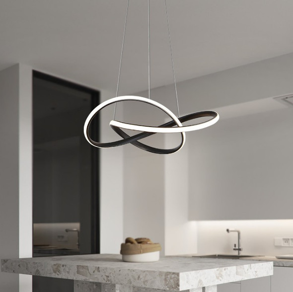 Modern Contemporary Dimmable Twisted LED Pendant Light in Sandy Black