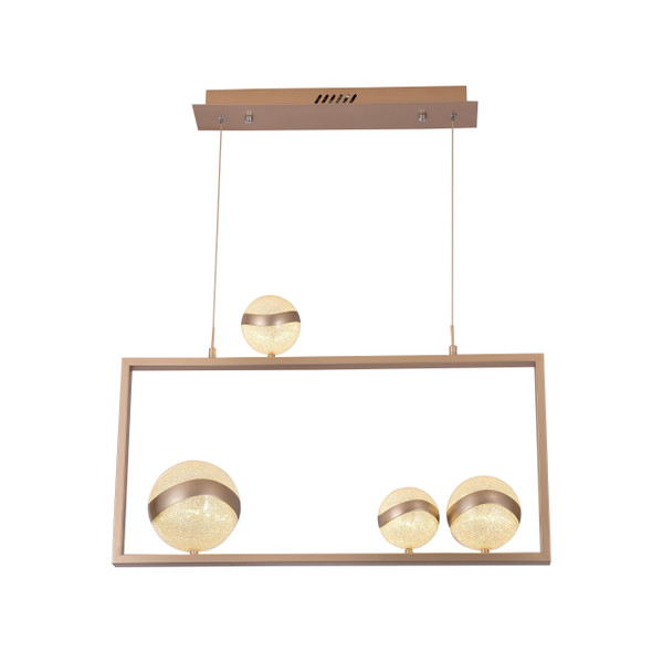 Contemporary LED Pendant Light in Champagne Gold