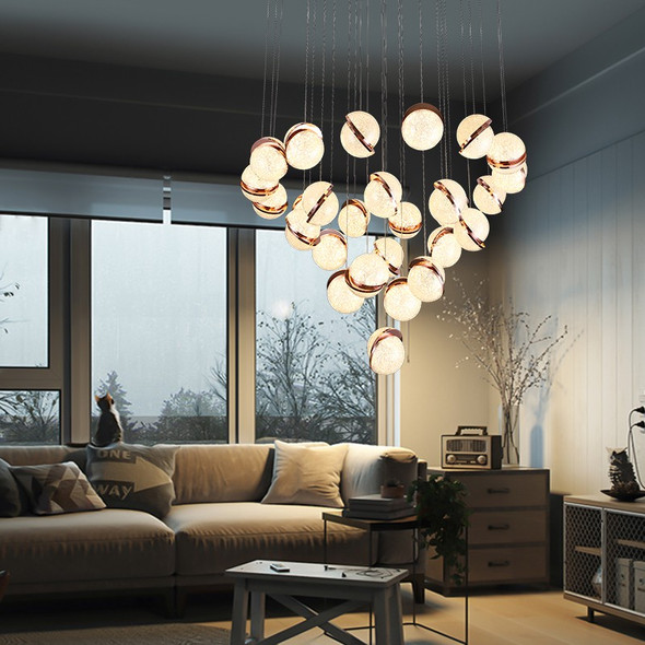 Rose Gold Pendant Light In Warm White 27 Lamps