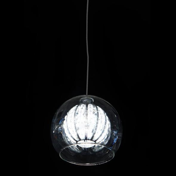 Single Clear Glass Ball Pendant Light in Chrome Finish