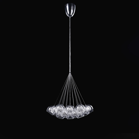 Glass with Clear Crystal Ball Light in Chrome Finish 19 Lamps