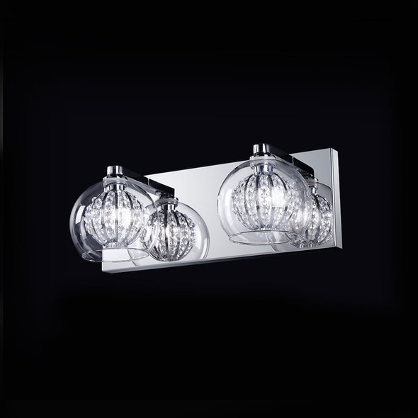 Twin Light with Crystal and Clear Glass Shade Finished in Chrome