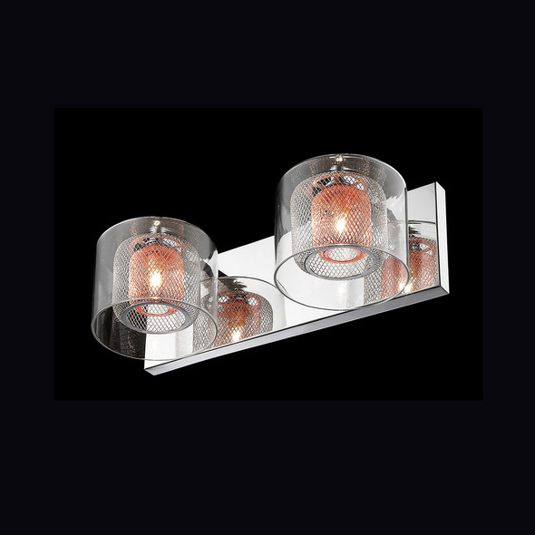Twin Wall Lamp with Inner Mesh in Chrome Finish
