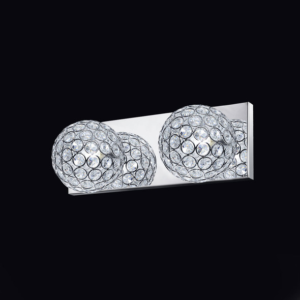 Twin Crystal Class A Wall Light in Chrome Finish