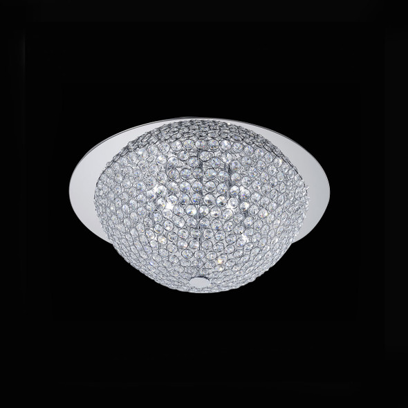 Clear Crystal Round Flush Light in Chrome Finish