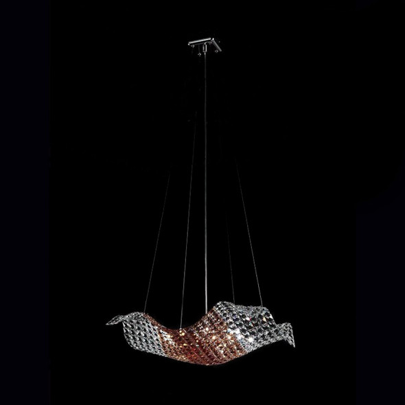 Crystal Pendant Light in Clear, Amber and Burgundy Mix Colour