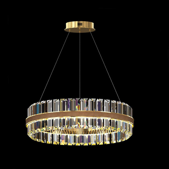 LED Gold and Leather Pendant Light
