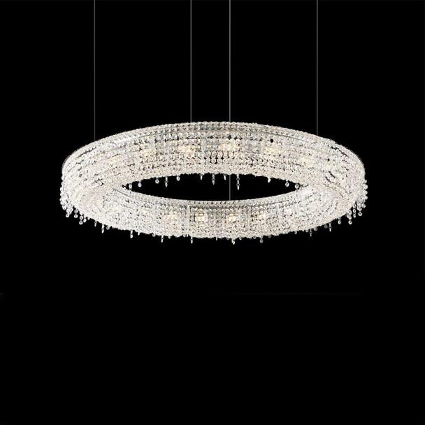 Circular Crystal Pendant Light with Chrome Finish 12 Lamps