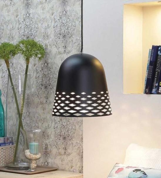 Diamond Cut Out Modern Ceiling Pendant Light in Matt Black