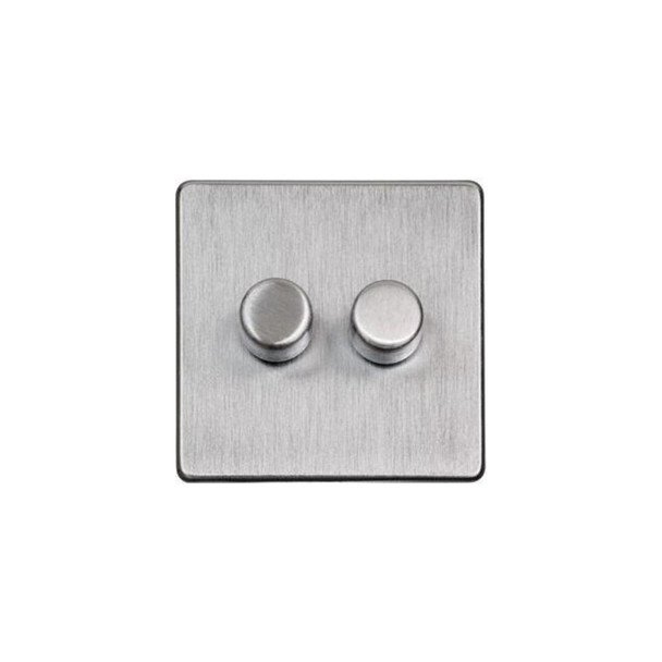 Studio Range 2 Gang Trailing Edge Dimmer in Satin Chrome - Trimless - Y33.270.TED