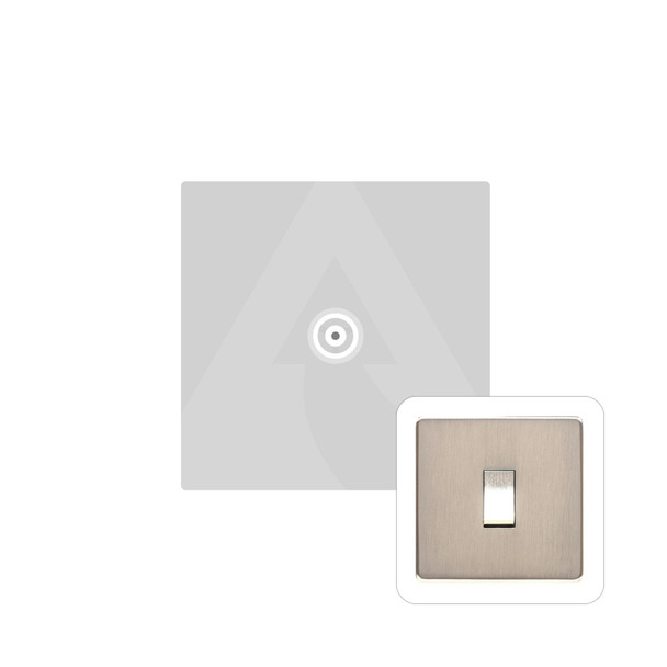 Studio Range 1 Gang Non-Isolated TV Coaxial Socket in Satin Nickel - White Trim - Y05.221.W