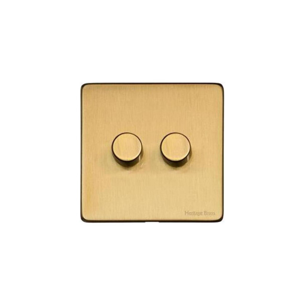 Studio Range 2 Gang Trailing Edge Dimmer in Satin Brass - Trimless - Y44.270.TED