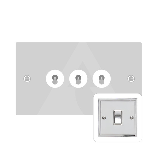 Elite Stepped Plate Range 3 Gang Dolly Switch in Polished Chrome - Trimless - S02.1420.PC