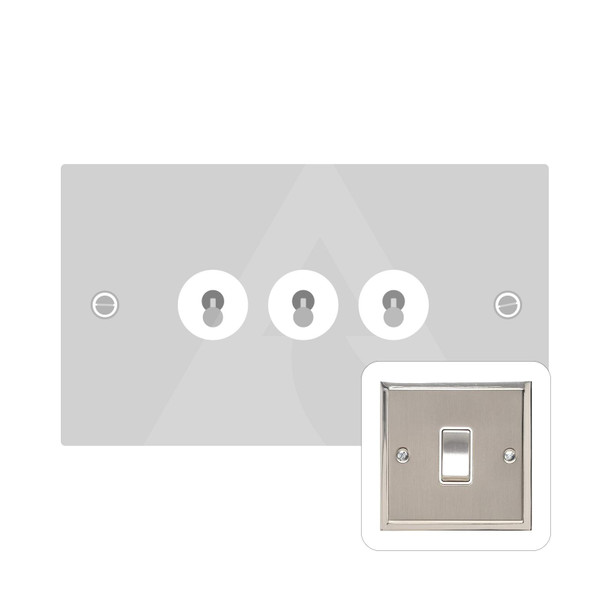 Elite Stepped Plate Range 3 Gang Dolly Switch in Satin Nickel - Trimless - S05.1420.SN