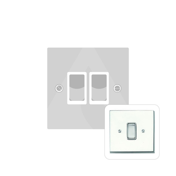 Contractor Range 2 Gang Switch (6 Amp) in Polished Chrome - Black Trim - CR992BN