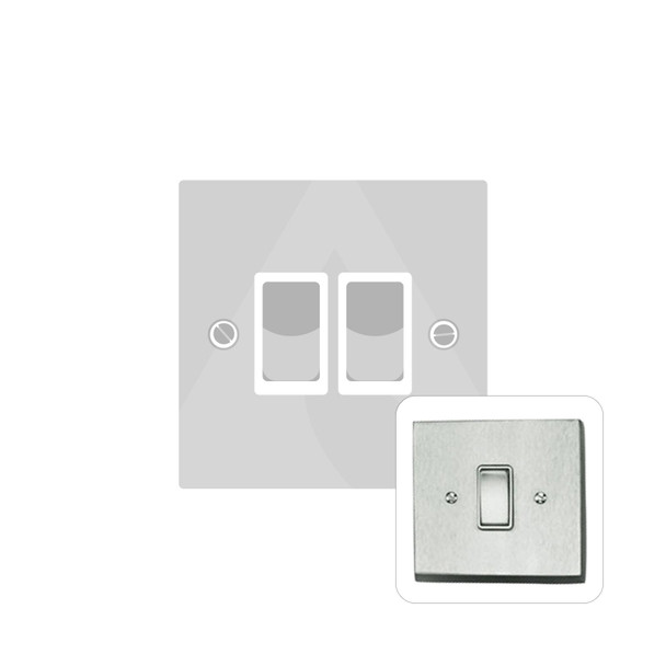 Contractor Range 2 Gang Switch (6 Amp) in Satin Chrome - White Trim - BC992W