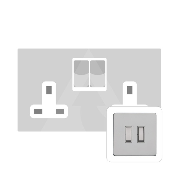 Primed White (Paintable) Range Double Socket (13 Amp) in Primed White - White Trim - YPW.550.W