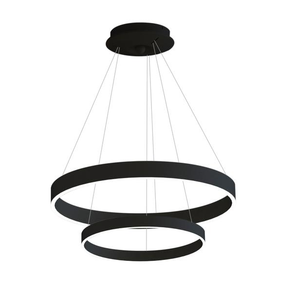 68w LED Dimmable Ultra-Modern Double Ring Light Pendant 3000K in Matt Black