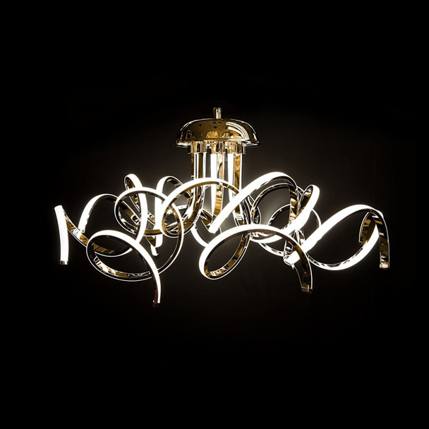 Modern Contemporary Dimmable 8 Arm Curled LED Pendant Light in Gold