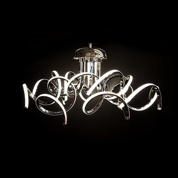 Modern Contemporary Dimmable 8 Arm Curled LED Pendant Light in Chrome