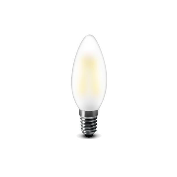 1.8 Watt Retro LED Filament Candle Bulb in Daylight White E14 Edison Screw Opal Glass
