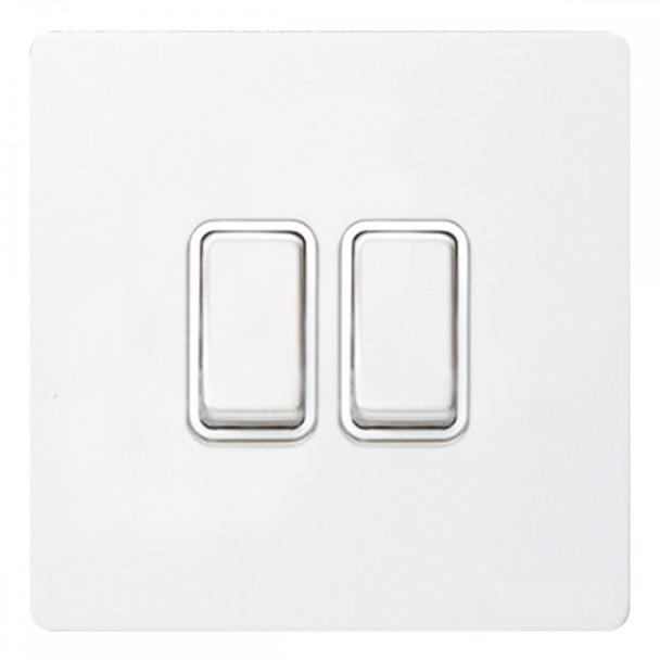 GU1422WPW Ultimate Screwless 2 Gang 2 Way Switch in White Metal Painted