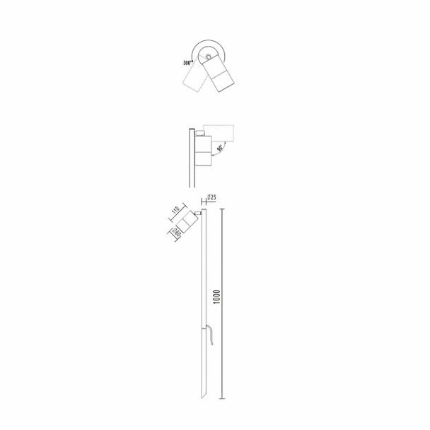 Outdoor Ground Adjustable Spike Spotlight in Black IP65