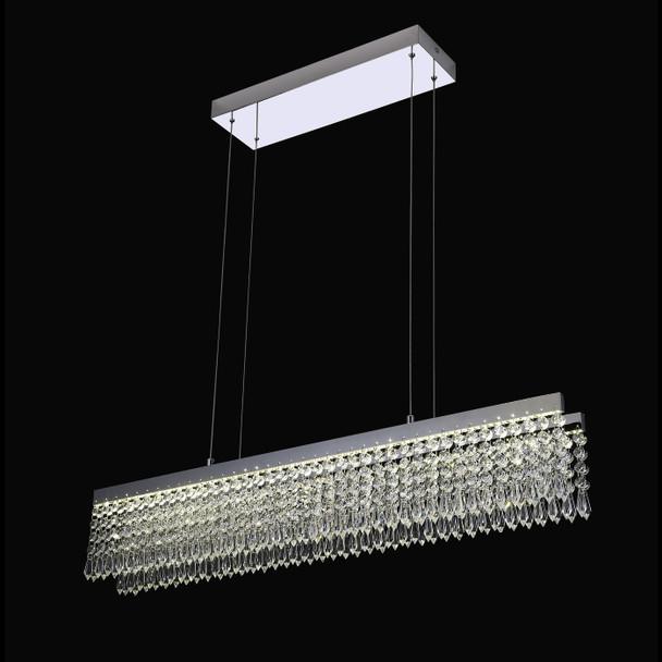 Serilda Linear K5 Crystal LED Pendant Light in Chrome
