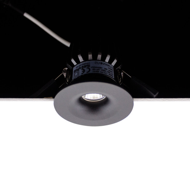 Small Round Fixed 6W Dimmable LED Downlight 3000K IP65 & Fire Rated in Matt Black