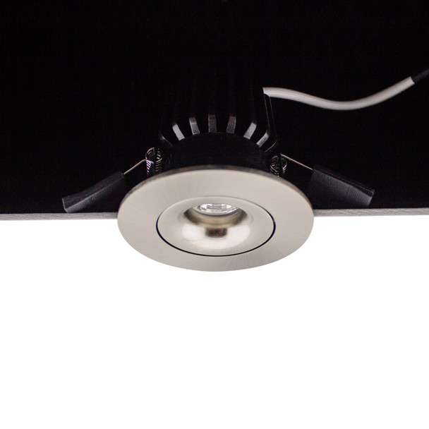 Small Round Tiltable 6W Dimmable LED Downlight 3000K IP44 & Fire Rated in Satin Nickel