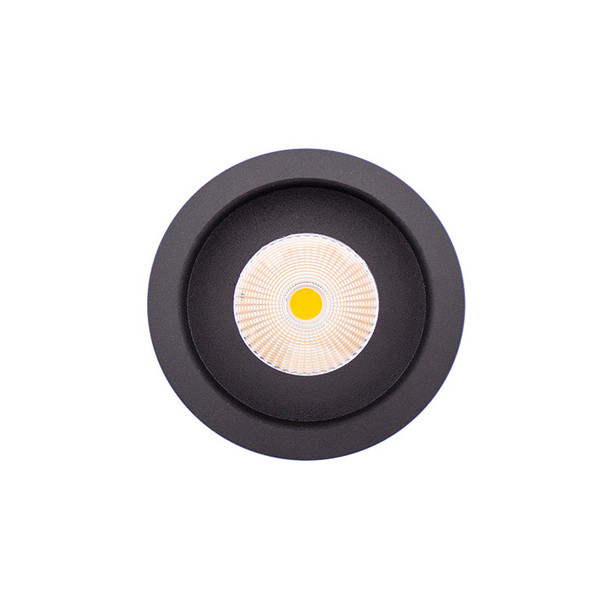 Round Baffle 10W Dimmable LED Recessed Downlight 3000K IP44 in Matt Black