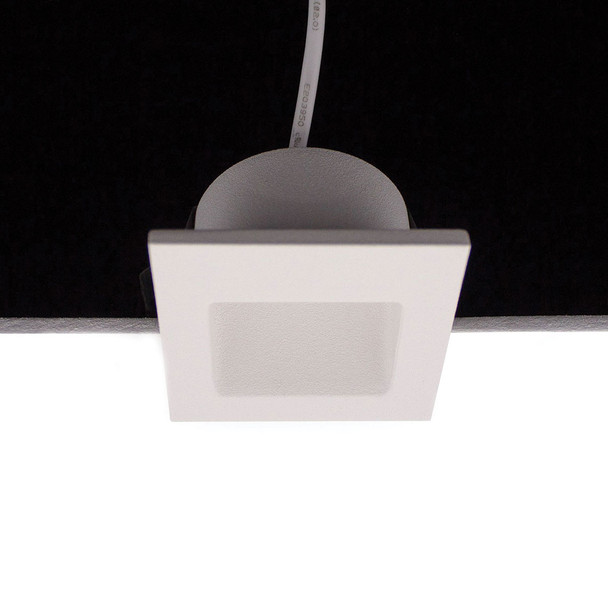 Dimmable 3w Small Square Recessed LED Wall Light in Matt White IP44 4000K